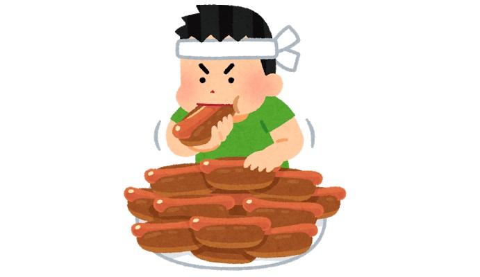 ホットドッグを大食いする男